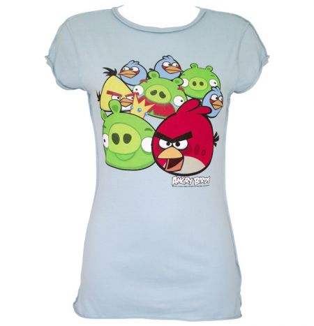 a0f6e672230 Ladies Angry Birds T Shirt in Pale Blue