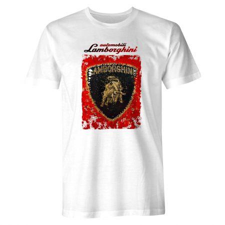 Véritable Lamborghini Automobili UK Union Jack Cabernet T-shirt rouge M D2 LT47